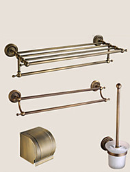 Bathroom Accessory Set / Antique Brass Towel Bar Antique Brass Wall Mounted 625 x 90x125mm (24.6 x 3.54 x 4.92) Brass / Ceramic / Crystal Antique