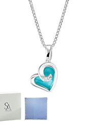 SILVERAGE Sterling Silver Maldives Blue Heart Pendant Necklace