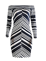 Women's Party/Cocktail / Club Sexy Bodycon Dress,Striped Strapless Knee-length Long Sleeve Black Polyester Summer Mid Rise Micro-elastic