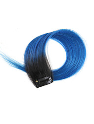 2 Pcs/Set 4 Clips Clip In Hair Extensions Ombre Black to Blue 14Inch 18Inch 100% Human Hair For Women