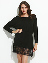 Women's Hot Sale Patchwork All Match Lace Dress , Sexy / Casual Bateau Long Sleeve
