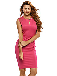 Women's Sexy Pink Midi Dress with Chain Detail