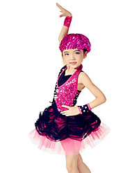 Ballet Dresses Children's Performance Spandex / Polyester / Organza / SequinedCrystals/Rhinestones / Paillettes / Pleated / Sequins /