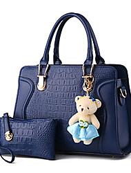 M.Plus® Women's Fashion Ruffles Crocodile PU Leather Messenger Shoulder Bag/Tote
