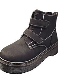 Women's Sneakers Winter Platform PU Casual Low Heel Platform Magic Tape Black Green Walking