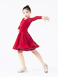 Latin Dance Dresses Children's Performance Spandex / Polyester Ruffles 1 Piece Long Sleeve Natural