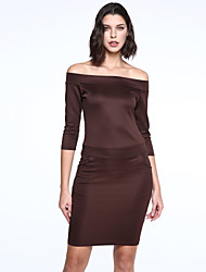 Women's Party / Cocktail / Casual / Day Solid Sheath Dress , Off Shoulder Knee-length