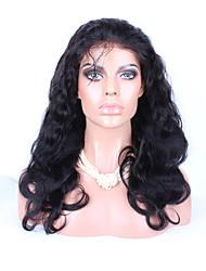 """8 """"26"""" onda del cuerpo del pelo brasileño virginal del color peluca glueless del frente del cordón peluca de cabello natural bebé negro"""