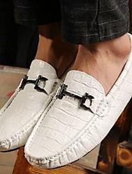 Herren-Loafers & Slip-Ons-Lässig-LederKomfort-Schwarz Blau Braun Weiß