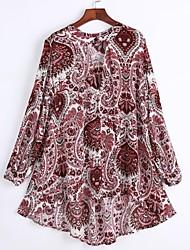 Mulheres Blusa Casual Simples Primavera / Verão,Estampado Marrom Poliéster Decote em V Profundo Manga Longa Média / Fina