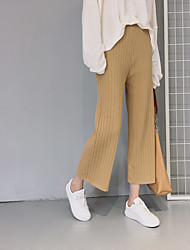 Shu Wen temperament piece of paper money pit strip simple solid color knit nine points was thin loose casual straight jeans