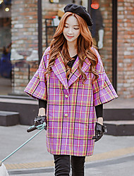 Women's Going out Casual/Daily Holiday Cute Street chic Sophisticated Coat,Color Block Plaid Notch Lapel ½ Length Sleeve Fall Winter