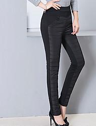 Feminino Tamanhos Grandes Skinny Chinos Calças-Cor Única Casual Simples Cintura Alta Elasticidade Algodão / Náilon / Elastano