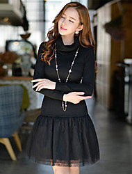 DABUWAWA Women's Going out / Casual/Daily / Party/Cocktail Vintage / Punk & Gothic / Sophisticated Sheath / Little Black / Sweater DressSolid