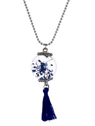 Necklace Non Stone Pendant Necklaces Jewelry Daily Circle Flower Style Glass Women 1pc Gift White Red Blue