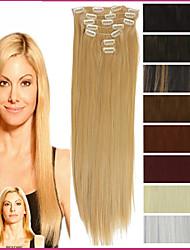 """22 """"/ 55cm 120-130g 7pcs / resistentes postizos sintéticas clip de calor establecidas en la larga extensión del pelo recto"""