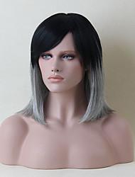 élégant capless mi-longueur perruques cheveux ombre humaine droite naturelle