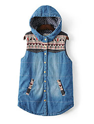 Women's Casual/Daily Simple Jackets,Print Hooded Sleeveless Fall Winter Blue Cotton Medium