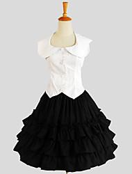 Austattungen Klassische/Traditionelle Lolita Elegant Cosplay Lolita Kleider einfarbig Ärmellos Knielänge Top Rock Für Baumwolle