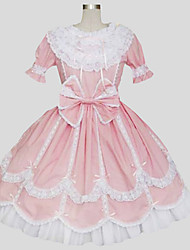 One-Piece/Dress Sweet Lolita Princess Cosplay Lolita Dress Solid Short Sleeve Long Length Dress Petticoat For Cotton