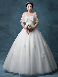 ZTE Princess Wedding Dress Floor-length V-neck Lace / Organza / Tulle / Sequined withAppliques / Beading / Crystal / Lace / Pearl /