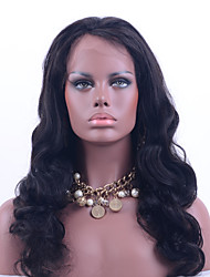 virgem onda do corpo cabelo rendas frente peruca humana cor preta 130% de densidade brasileira peruca de cabelo virgem rendas da classe