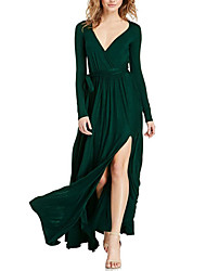 Women's Going out Casual/Daily Sexy Vintage Simple Loose Sheath Swing Dress,Solid V Neck Maxi Long Sleeve Polyester Fall Winter High Rise