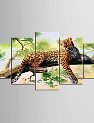 Canvas Set Abstract Animal Modern Realism,Five Panels Canvas Any Shape Print Wall Decor For Home Decoration