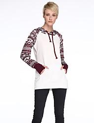 Women's Print White / Black Hoodies , Casual Hooded Long Sleeve