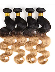 3pcs / lot 1b / 27 virgin человеческие волосы сплетают человеческие волосы ombre тела волны weaves