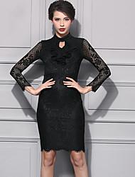 Gaine Robe Femme Décontracté / Quotidien Chic de Rue,Fleur Col Arrondi Mi-long Manches Longues Noir Violet Nylon Automne Taille Normale