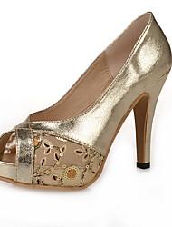 Damen-High Heels-Outddor / Lässig / Kleid-Leder-Stöckelabsatz-Others-Schwarz / Gold