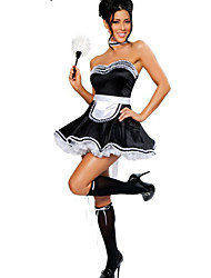 Deluxe Girl Black Polyester Carnival Party Maid Uniform