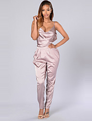 Women's Slim JumpsuitsCasual/Daily Club Sexy Simple Solid Silk Fabrics Backless Strap Sleeveless Mid Rise Micro-elastic Summer Fall