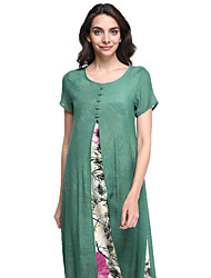 Women's Going out Vintage Loose Dress,Floral Round Neck Midi Short Sleeve Gray / Green Linen Summer