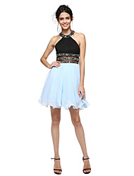 A-Line Jewel Neck Short / Mini Cotton Cocktail Party Homecoming Prom Dress with Beading by TS Couture®