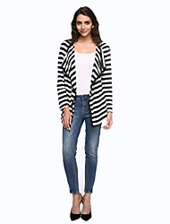 Women's Casual/Daily Simple Jackets,Striped Shirt Collar Long Sleeve Fall White Cotton