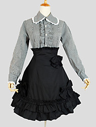 Outfits Elegant Cosplay Lolita Dress Black Solid / Plaid Long Sleeve Knee-length Top / Blouse / Skirt For Women
