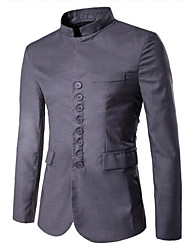 Men's Slim Stand Collar Chinese Eight Button Blazer Solid Notch Lapel Long Sleeve Black / Gray Cotton / Polyester