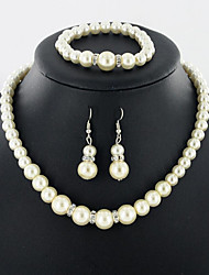 Jewelry 1 Necklace 1 Pair of Earrings 1 Bracelet Pearl Daily Pearl 1set Women White Wedding Gifts