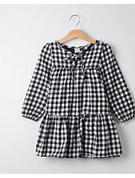 Girl's Casual/Daily Check Dress,Cotton Winter Fall