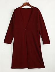 Lang Strickjacke Einfach Solide Blau Rot Schwarz Grau Lila Kapuze Langarm Polyester Frühling Herbst Mittel Mikro-elastisch