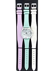 3 PCS Men's / Women's Fashion Watch / Bracelet Watch Quartz Leather Band Charm / Casual White / Blue / Purple Brand Gift