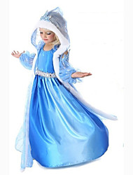 Cosplay Costumes / Party Costume / Masquerade Princess / Cinderella / Cosplay Movie Cosplay Blue Solid Dress / Shawl Halloween / Carnival