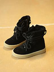 Girl's Boots Fall Winter Comfort Cowhide Casual Flat Heel Black