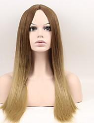 nuevos 's mujeres de la moda' s año de lino de color marrón degradado en la sub - peluca de seda de alta temperatura mate a largo