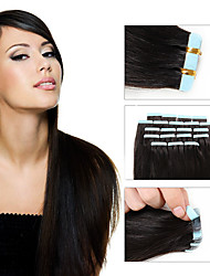 20pcs 1.5-2g/pc 16-24inch Brazilian Virgin Tape Human Hair Extension #2 Tape In Human Hair Extensions 002