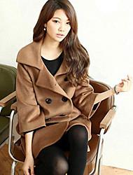 Damen Solide Mantel,Herbst ¾-Arm Rot / Beige / Schwarz / Braun Mittel Wolle / Andere