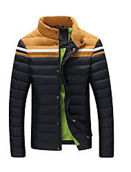 Men's Regular Down Coat,Simple Going out Color Block-Polyester Polyester Long Sleeve Stand Blue Black Brown