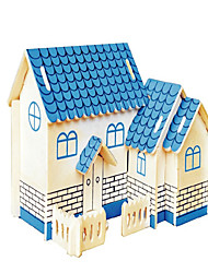 Jigsaw Puzzles Wooden Puzzles Building Blocks DIY Toys Blue House 1 Wood Ivory Model & Building Toy